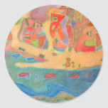 Village by the sea classic round sticker