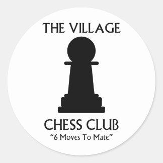 Village Chess Club Round Sticker