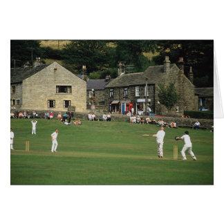 Village cricket, low Bradford, South Yorkshire, U. Card