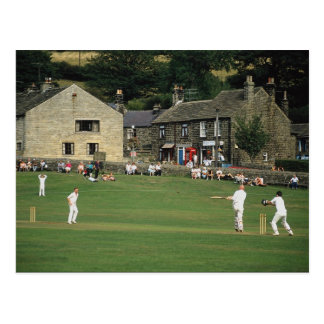 Village cricket, low Bradford, South Yorkshire, U. Postcard