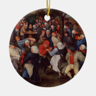 Village Dance (oil on panel) Round Ceramic Decoration