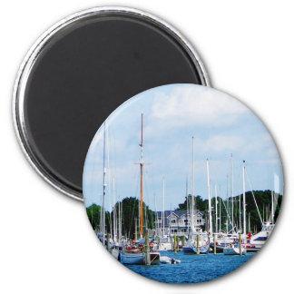 Village Dock at Wickford, RI 6 Cm Round Magnet
