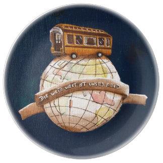 Village fair chalkboard weite welt porcelain plate