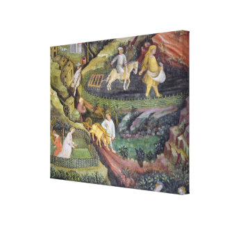 Village farmers doing work in April Canvas Print