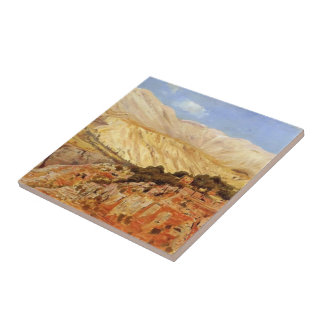 Village in Atlas Mountains, Morocco by Edwin Weeks Small Square Tile