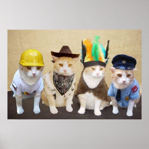 Village Kitties Print