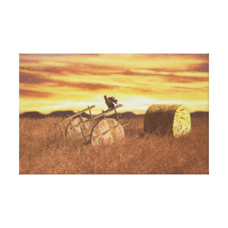 Village life digitally handpainted canvas print