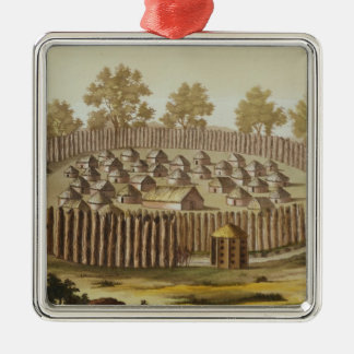 Village of an Indigenous Tribe in Florida, engrave Christmas Ornament