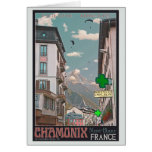 Village of Chamonix (black) Greeting Card