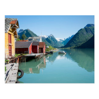 Village of Fjærland and a fjord in Norway postcard