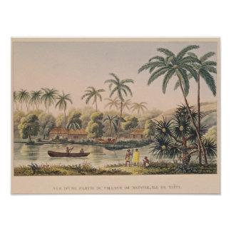 Village of Matavae, Tahiti Poster