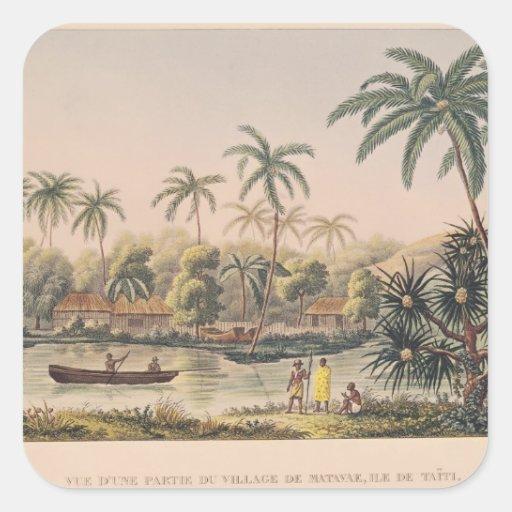 Village of Matavae, Tahiti Square Stickers