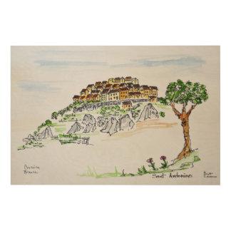 Village of Sant'Antonino | Corsica, France Wood Wall Art
