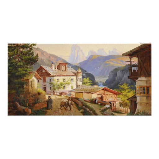 Village scene of St Peter Josef Arnold the Younger Custom Photo Card