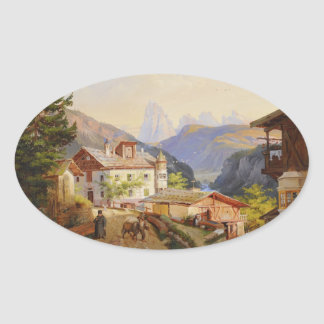 Village scene of St Peter Josef Arnold the Younger Sticker