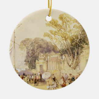Village Square in the Bay of Hong Kong, plate 5 fr Christmas Ornament