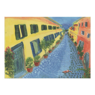 Village Street In Italy Diptych 1 Canvas Print Poster