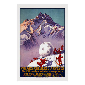 Villars, Switzerland, Vintage Travel Poster