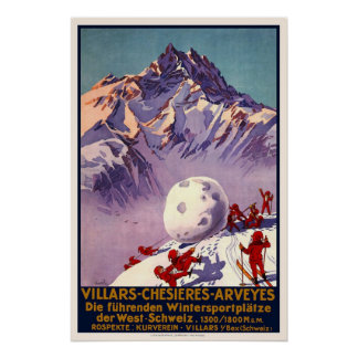 Villars Switzerland Winter Sports Vintage Travel Poster