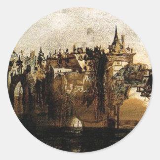 Ville avec le pont de Tumbledown by Victor Hugo Round Sticker