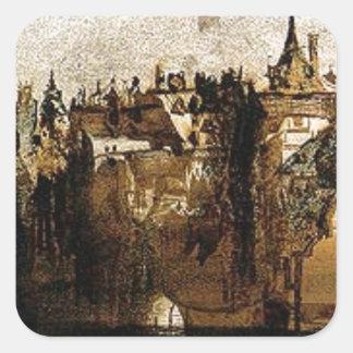 Ville avec le pont de Tumbledown by Victor Hugo Square Sticker