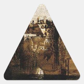 Ville avec le pont de Tumbledown by Victor Hugo Triangle Sticker