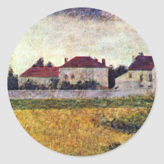 Ville D'Avray, The White Houses By Seurat Georges Round Sticker