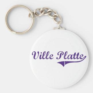 Ville Platte Louisiana Classic Design Basic Round Button Key Ring