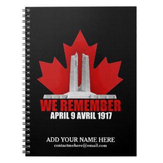 Vimy Ridge We Remember Notebooks