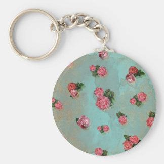 Vinage Flower Roses floral blue pink nostalic Basic Round Button Keychain