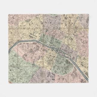 Vinage Map of Paris France (1878) Fleece Blanket