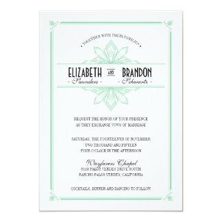 Vinatge Deco Mint & Black Wedding Invitation