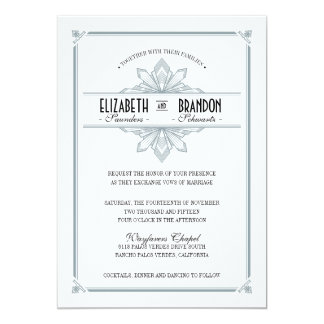 Vinatge Deco Silver & Black Wedding Invitation