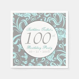 Vinatge Floral Pattern 100th Birthday Paper Napkin