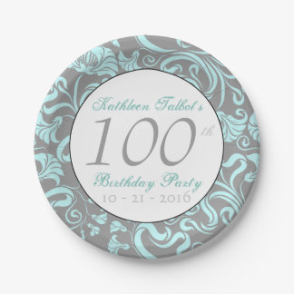 Vinatge Floral Pattern 100th Birthday Paper Plate