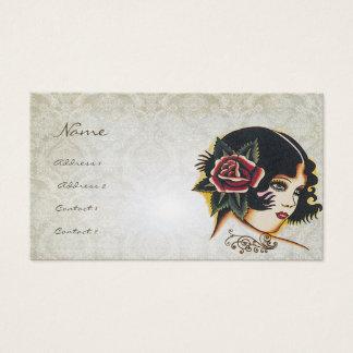 Vinatge Girl Damask Rose Boutique Fashion Business Business Card