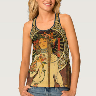 Vinatge girl with floral bouquet tank top
