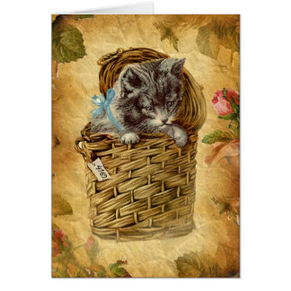 Vinatge image Cat in basket Card