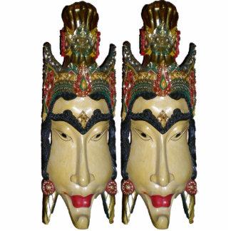 Vinatge Masks Sculpture Standing Photo Sculpture