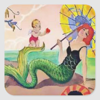 Vinatge Mermaid 1950 Square Sticker