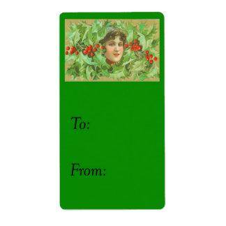 Vinatge Woman and Holly Gift Tag Shipping Label