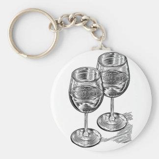 Vinatge Woodblock Style Wine Glasses Basic Round Button Key Ring