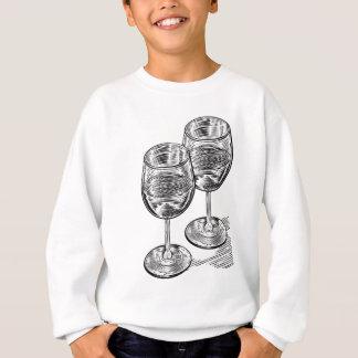 Vinatge Woodblock Style Wine Glasses Sweatshirt