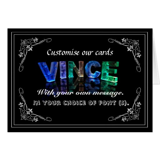 Vince -  Name in Lights greeting card (Photo)