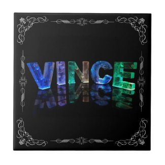 Vince - The Name Vince in 3D Lights (Photograph) Tile