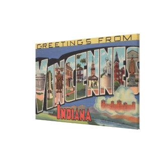 Vincennes, Indiana - Large Letter Scenes Canvas Print