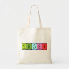 Bag featuring the name Vincent spelled out in symbols of the chemical elements