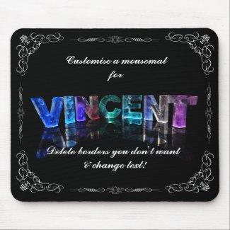 Vincent - The Name Vincent in 3D Lights (Photogra Mouse Mats