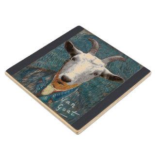 Vincent Van Goat/ Gogh Self Portrait Painting Wood Coaster
