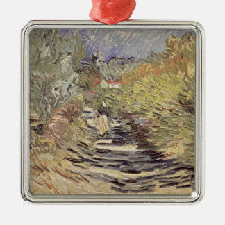 Vincent van Gogh | A Road in St. Remy Silver-Colored Square Decoration